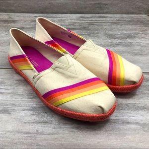 Toms rainbow stripe slip on shoe